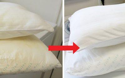 A melhor maneira de voltar a ter as almofadas brancas